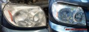 before and after the headlight polishing, miraculous difference
